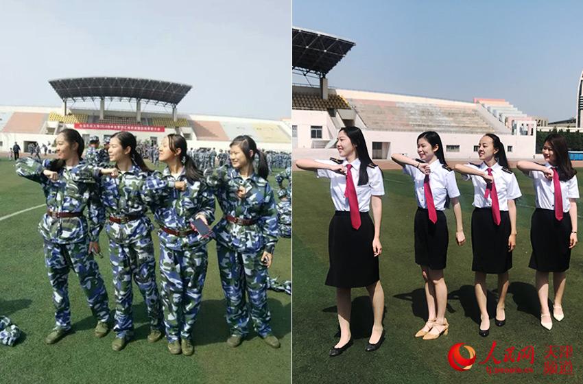 毕业生还原大一军训时的拍照姿势 中国民航大学供图