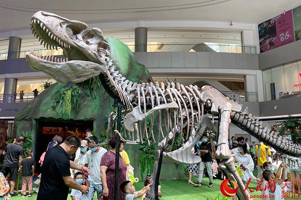SM天津滨海城市广场沉浸式科普展体验史前恐龙文化